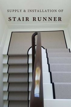 Grey Stair Runner With Black Border Supplied & Fitted In Private Residence In North London Painted Stairs, Wood Stairs, Basement Stairs, House Stairs, Cost To Install Carpet, Installing Carpet On Stairs, Carpet Staircase, Basement Carpet, Ladder