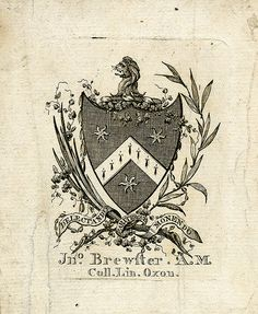 [Bookplate of Coll. Lin. Oxon. Jno. Brewfter A.M.   Description: States, 'Jno. Brewfter A.M. Coll. Lin. Oxon;' with motto 'Delectando pariterque monendo;' features a shield surrounded by garland and bears three estoiles and a chevron stripe of trefoils. The crest consists of a demi-lion. Unsigned. Format: 1 print, col., 10 x 8 cm.