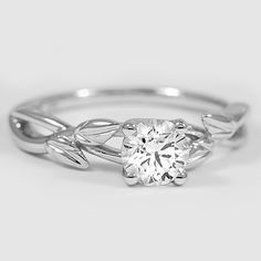 18K White Gold Budding Willow Ring // Set with a 0.52 Carat, Round, Ideal Cut, I Color, VS1 Clarity Diamond #BrilliantEarth