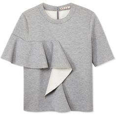 Gray bonded jersey short sleeve sweatshirt with a side-wrapped ruffle. Crew neckline Hidden back zip closure Made in Italy