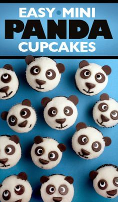 Panda Bear Cupcakes with chocolate chips and sprinkles