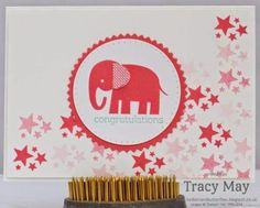 Cute baby card that could be made in any color.  Zoo Babies stamp set -  baby girl card