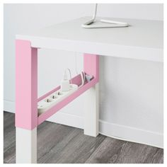IKEA - PÅHL Desk with add-on unit white, pink