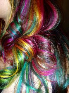 Elumen rainbow curls. Was time consuming as hell but totally worth it!!!! Do not repin without credit to me please!