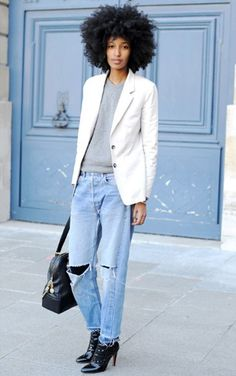 Julia Sarr Jamois in ripped boyfriend denim/jeans.