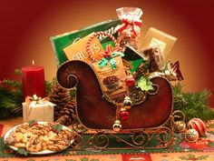HOLIDAY SLEIGH - SMALL SIZE:  $38.69 Send the Holiday Sleigh to someone you love this holiday season.    Brass Decorative Holiday Sleigh holds:  Chocolate Covered Almonds 1.85 oz.  Dolcetto Old Fashioned Chocolate Cream Pastry  2 oz. Crunchy Caramel Corn  Holiday Chocolate Caramels  White Chocolate Holiday Cocoa  Petite Holiday Fruit Candies  (Tell them Mary L. LBB ID#4949 told you about this one.)  Price reflects Coupon Code HOLIDAY10 for 10% off original price.