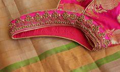 Simple Blouse Designs, Blouse Designs Silk, Sexy Blouse, Work Blouse, Embroidery Neck Designs, Kurta Neck Design, Yellow Saree, Elegant Saree, Saree Dress