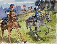 LAMBIL Les tuniques bleues Encre de Chine et aquarelle pour cette illustration proche de la série du portfolio édité par Horizon BD, signée. 31x24 cm Vendu aux #encheres le 09/12/12 par Millon & Associés
