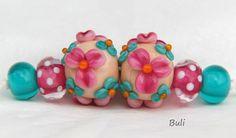 Handmade Lampwork Glass Beads Sets - Flowers