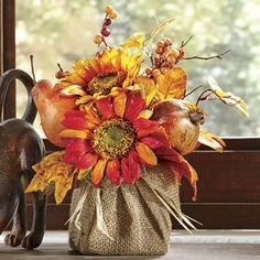 I love the idea of wrapping base of arrangement with burlap. Real or artificial. I love the idea of wrapping base of arrangement with burlap. Real or artificial. Fall Floral Arrangements, Autumn Decorating, Autumn Crafts, Fall Projects, Fall Table, Arte Floral, Deco Table, Fall Flowers, Wedding Flowers