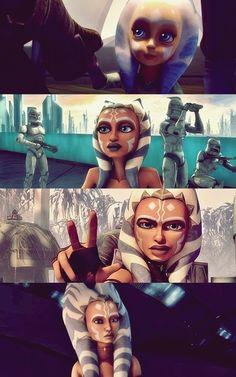 """Ahsoka Tano. Personaje creado para la serie  de animacion """"Star Wars The Clone Wars"""" (2003). Fue descubierta de pequeña por el Maestro Plo Koon y será la padawan de Anakin. También aparece en la película del 2008 y en la serie."""