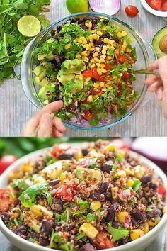 This Mexican-style Quinoa Salad is loaded with bla Plant Based Recipes, Raw Food Recipes, Vegetable Recipes, Healthy Dinner Recipes, Salad Recipes, Vegetarian Recipes, Vegan Vegetarian, Red Quinoa Recipes, Quinoa Vegan