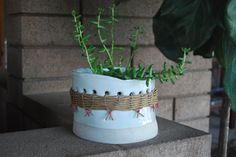 white pot with cane jacket - twpottery, Etsy
