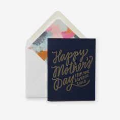 Letterpress printed with gold ink on navy duplexed paper. Paired with an abstract envelope liner. Illustrated and printed in Iowa. Card size: x folded card Fabric Journals, Crochet Bear, Letterpress Printing, Foil Stamping, Kids Cards, Paper Design, Happy Mothers Day, Paper Goods, Card Sizes