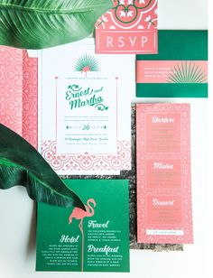 tropical invitation, wedding bespoke design, flamingo and patterned!