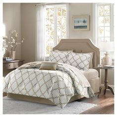 The Becker Comforter Set with Sheet Set creates a simple yet chic look in your space. The fretwork design creates a modern look with its white design on a bold base. This set is completely reversible to a white base allowing you to change the feel of your room instantly. A 180 thread count printed sheet set also features a smaller scale fretwork pattern for a finished look.