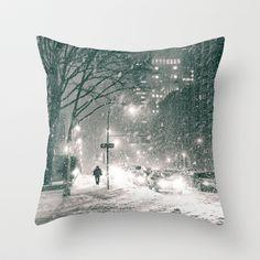 Snowy Winter Night - New York City Throw Pillow by Vivienne Gucwa - $20.00