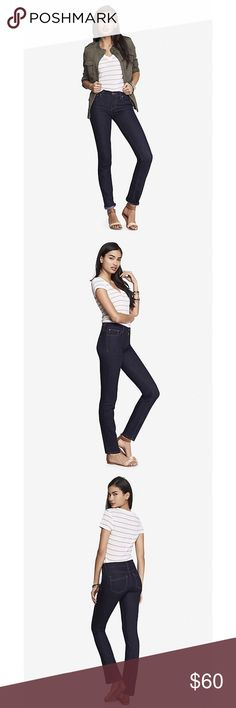 """NWT‼️Express 5 pocket skinny jeans 👖 NWT‼️Express denim perfect skinny jeans. Features a dark wash with contrast stitching, 5 pockets, and one button closure and zip fly with brass accents. Mid rise. Premium stretch denim fabric for a shape enhancing, slimming & sexy fit. Size 8 fits 28.5""""-30"""" waist and 39.5""""-41"""" hip. 30"""" inseam. True to size. Express Jeans Skinny"""