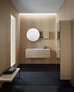 Minimalistic timber bathroom design!  Collection designed by Burgbad Located in #Greding #Germany