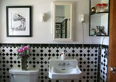"""Gail & Chil's """"Dead Grandmother"""" Style Tiny Bathrooms, Vintage Bathrooms, Beautiful Bathrooms, Master Bathrooms, Home Office, Black And White Tiles, Black White, Small Space Solutions, Apartment Living"""
