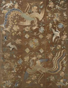 Title: Embroidery  Artist: Unknown (Chinese)  Year: c. 1860-1880    Art Movement: Chinese Qing dynasty (1644-1911) - China  Materials/Techniques: Satin stitch and couched metallic thread