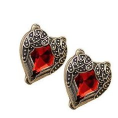 Vintage Style Angel Wings Wrapped Around a Red Heart Stud Earrings