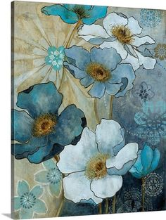 Carol Robinson Solid-Faced Canvas Print Wall Art Print entitled Blue Demin Garden I Fabric Painting, Painting Prints, Wall Art Prints, Canvas Prints, Framed Prints, Watercolor Flowers, Watercolor Paintings, Acrylic Flowers, Flower Paintings