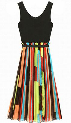 Black Contrast Patchwork Strips Chiffon Sleeveless Dress
