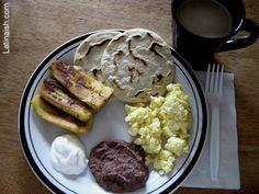 Typical Salvadoran breakfast: Scrambled eggs, refried beans, cream, fried plantains, tortilla, & coffe <3 <3 <3