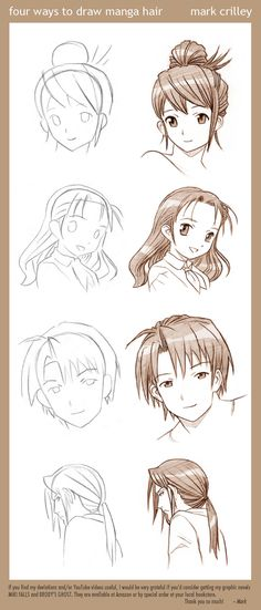 4 Ways to Draw Manga Hair by markcrilley.deviantart.com -- I should draw all of these.
