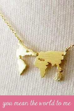 You mean the world to me such a pretty necklace globe necklace you mean the world to me such a pretty necklace world map necklace gumiabroncs Image collections