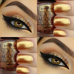 Gilded beauty created by @carolinebeautyinc!✨ See the lady's page for a full product breakdown.  #eyelovetarte #mascara #beauty #makeup #glitter #nails #mani #OPI polish in Honey Ryder