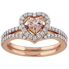 10k Rose Gold 1/2 Carat T.W. Diamond & Morganite Heart Engagement Ring... ($1,321) ❤ liked on Polyvore featuring jewelry, rings, accessories, pink, rose gold rings, heart diamond ring, diamond rings, heart shaped diamond ring and round engagement rings