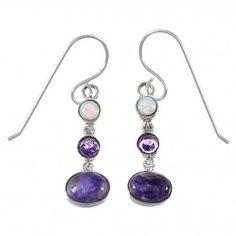 Silver Southwest Multicolor Hook Dangle Earrings QX77272