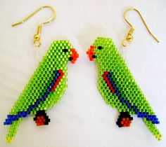 Hand Beaded Male Eclectus Parrot earrings by beadfairy1 on Etsy, $15.00