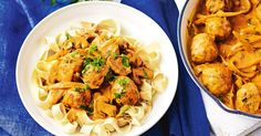 For a classic makeover try this creamy chicken meatball stroganoff. Pasta Recipes, Chicken Recipes, Dinner Recipes, Cooking Recipes, Healthy Recipes, Gif Recipes, Tasty Meals, Savoury Recipes, Cooking Ideas
