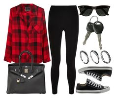 """""""Style #10683"""" by vany-alvarado ❤ liked on Polyvore featuring T By Alexander Wang, Rails, Converse, Hermès, Ray-Ban and DesignSix"""