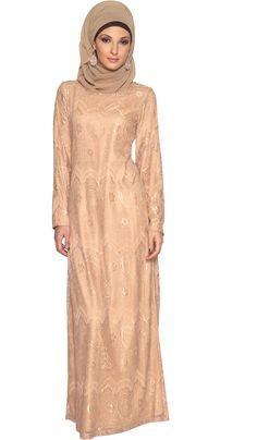 Womens Beige fully lined Lace Maxi Dress Abaya | abayas, kaftans, maxi dresses and long sleeve dresses for women | Islamic Dresses at Artizara.com