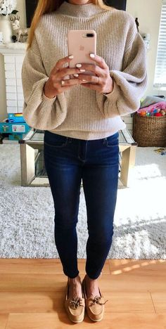 #winter #outfits brown turtle-neck sweater, blue denim fitted jeans, and pair of brown suede boat shoes outfit #fitnessshoes