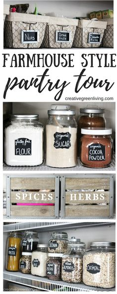 Get inspired with this farmhouse style pantry makeover that will wow you! Rustic baskets, stenciled crates and mason jars never looked so good.