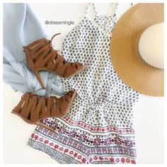 SEE IT ON | The best summer trends and how to wear them today on #lotd. See ya at 10am! #dressmingle #romper #chambrayblouse #heels #sotd #floppyhat