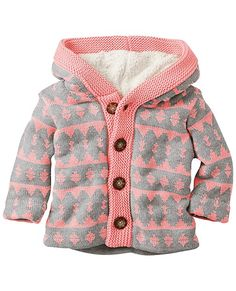 One touch of the soft sherpa fleece that's inside this cozy hoodie sweater jacket, and your little one will give you the signal—it's a keeper.  <br>• 100% combed cotton yarns <br>• Body and hood lined in poly sherpa fleece <br>• Sleeves are unlined <br>• Big buttons for little hands <br>• Machine wash <br>• Imported