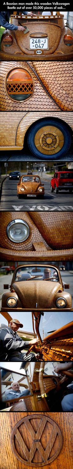 Momir Bojic, 71, crafted a completely wooden Volkswagen Beetle from over 50,000 pieces of hand-carved oak. Every external detail of the fully-functioning automobile is made out of wood, including the tire spokes.