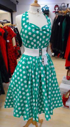 Green & white polka dot...