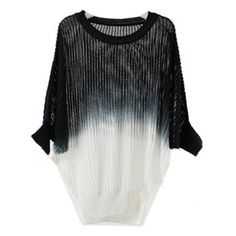 Black White Gradient Knit Holey Texture Batwing Sweater ($39) ❤ liked on Polyvore featuring tops, sweaters, shirts, black, batwing sweater, black knit sweater, black shirt, print shirts and knit sweater