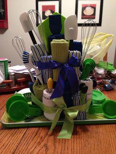 Kitchen towel cake, bridal shower gift