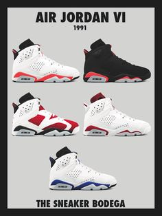 "18""x24"" poster featuring each original Jordan 6 released in 1991"