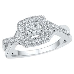 1/5 CT. T.W. Round Diamond Prong Set Fashion Ring in Sterling Silver (