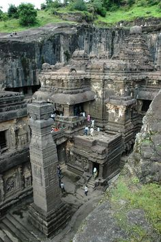 Ellora, Maharashtra, India, is the most awe inspiring place I've ever been. This cave, No. 16 of 34, is a single sculpture carved out of the mountain over generations, including the huge rooms and the figures and designs within them. Nothing you see was added on or built. The rock is so hard, the artists' pick marks have yet to erode from the walls of the cave after millennia.