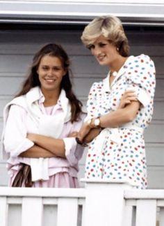 Diana with Lady Sarah Armstrong-Jones, Princess Margaret's daughter. Lady Sarah was chief bridesmaid at Diana's wedding.